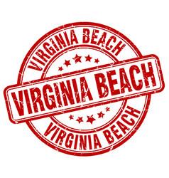 Virginia beach red grunge round vintage rubber vector