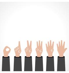 Hands make number zero to five vector image