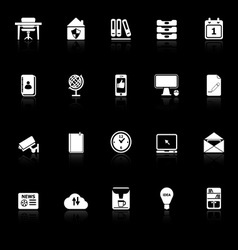 Home office icons with reflect on black background vector
