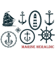 Marine and nautical heraldic elements vector
