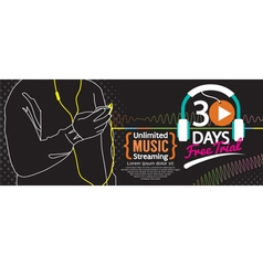 30 days free trial music streaming 1500x600 banner vector