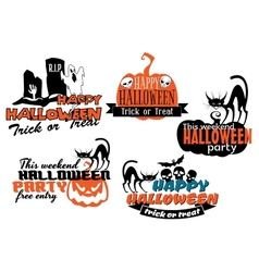 Orange and black halloween banners vector