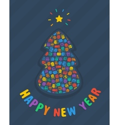 New year tree card vector