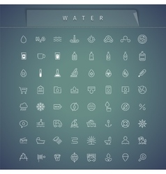 Water thin icons set vector