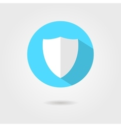 Shield icon in blue circle with shadow vector