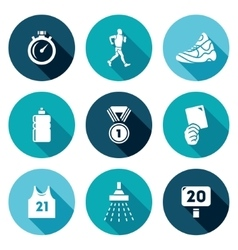 Sport walking icons set vector