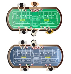 Casino furniture  craps table top view set 9 vector