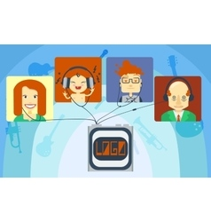 Family listening music vector