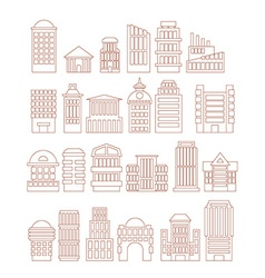 Set buildings icons public and administrative vector