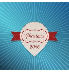 Christmas realistic white sticker with red ribbon vector
