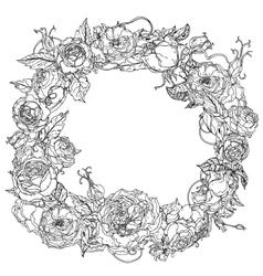 Black and white flower roses vector