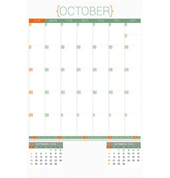 Calendar planner 2016 design template october week vector