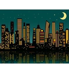 Cartoon night city vector image
