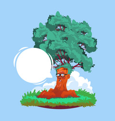 Cartoon smiling tree wearing glasses with chat vector