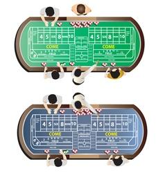Casino furniture craps table top view set 9 vector
