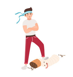 Concept of fight against smoking young guy vector