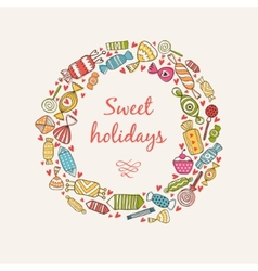 Frame with sweets and candy vector image