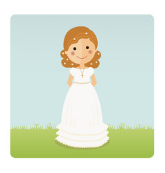 girl communion with curly hair on blue sky vector image