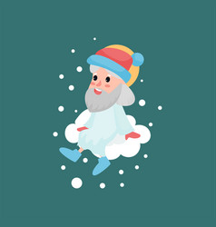 god character sitting on white cloud with snow vector image