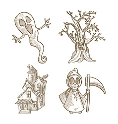 Halloween classics isolated sketch style creatures vector image vector image