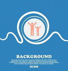 happy family sign icon Blue and white abstract vector image