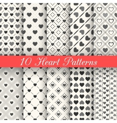 Heart shape seamless patterns Black and white vector image vector image