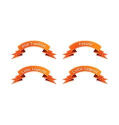 Irish orange ribbon set vector