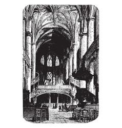 Metz cathedral altar vintage engraving vector