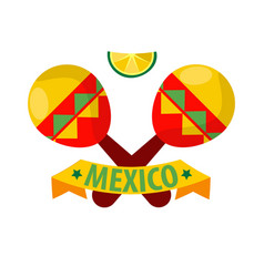 Mexican musical crossed maracas logotype in flat vector
