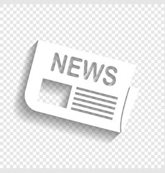 Newspaper sign white icon with soft vector
