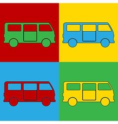 Pop art minibus icons vector image