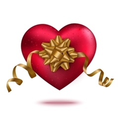 Red heart with gold ribbon and bow vector image