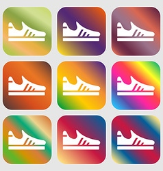 Running shoe icon sign Nine buttons with bright vector image vector image