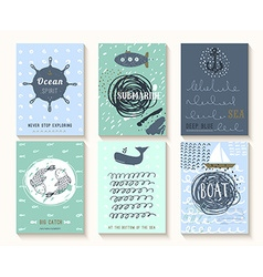 Set of hand drawn vintage nautical cards with vector