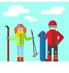 Ski rest in the winter vector image