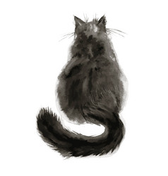 Watercolor black cat in vector