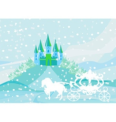 Winter landscape with castle and beautiful vector