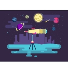 A telescope on background outer vector