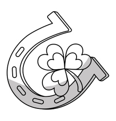 Horseshoe and clover icon vector