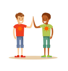 happy classmates giving high-five vector image