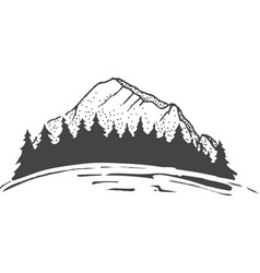 Sketch of a mountains with fir forest engraving vector