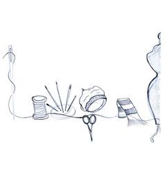 mannequin needles spool of thread vector image