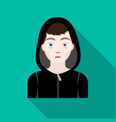 Drug addict man icon in flat style isolated on vector