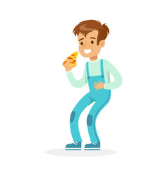 Cute smiling boy eating pizza colorful character vector