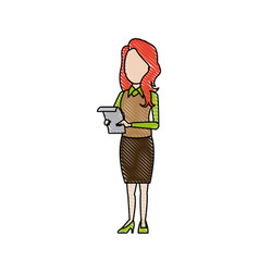 Business woman holding paper file office archive vector