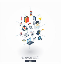 Science integrated 3d web icons digital network vector