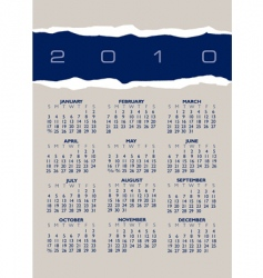 2010 torn paper calendar vector image vector image