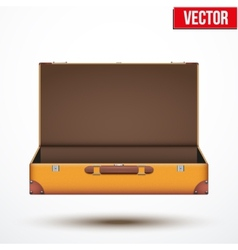 Open vintage leather travel suitcase vector