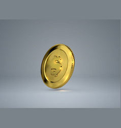 3d golden coin with dollar sign vector