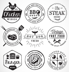 Grill barbecue burger hot dog seafood badges vector